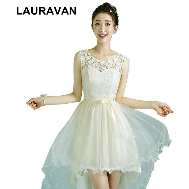 champagne colored sweet 16 tulle   bridesmaid   high low girls   bridesmaids     dresses   cheap short front long back for teens under $50