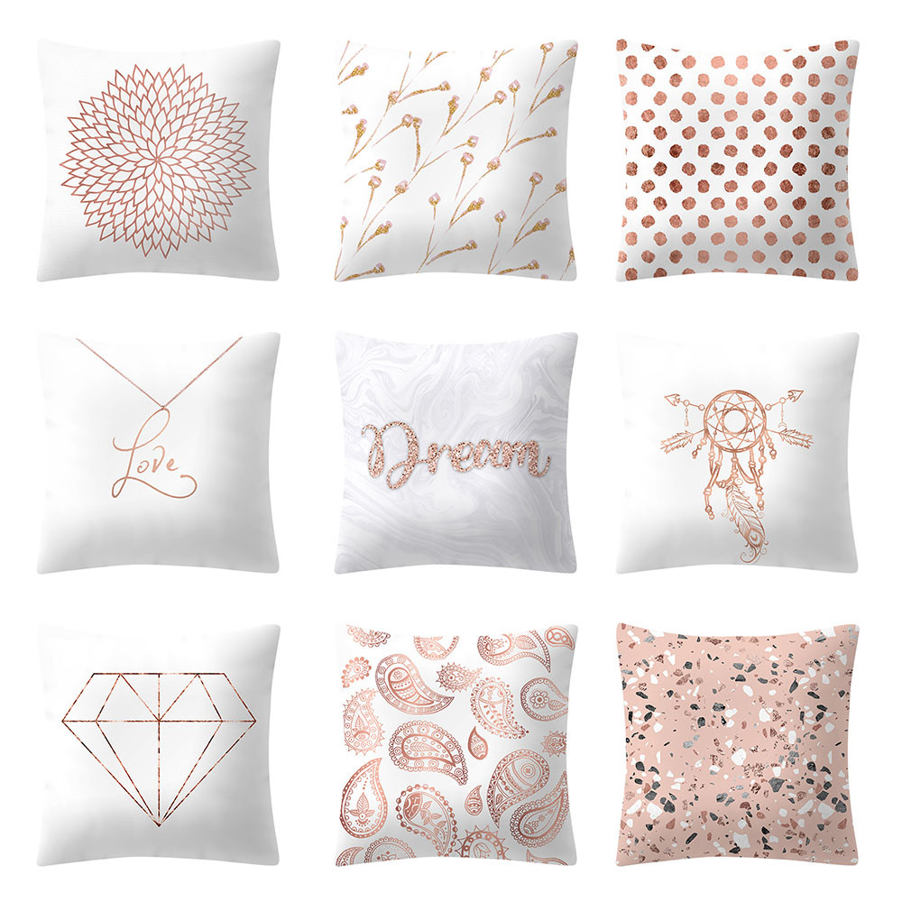 pillow case rose gold pink cushion cover square. Black Bedroom Furniture Sets. Home Design Ideas
