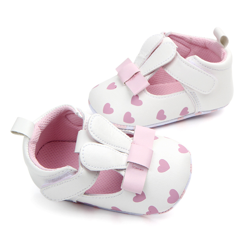 Pu Leather Rabbits Ear Casual Princess Girls Baby Red Heart Kids Soft Solid Crib Babe Infant Toddler Mary Jane Shoes