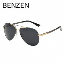 BENZEN Polarized Sunglasses Men Vintage Brand Designer Male Sun Glasses  Shades Black With Case 9156