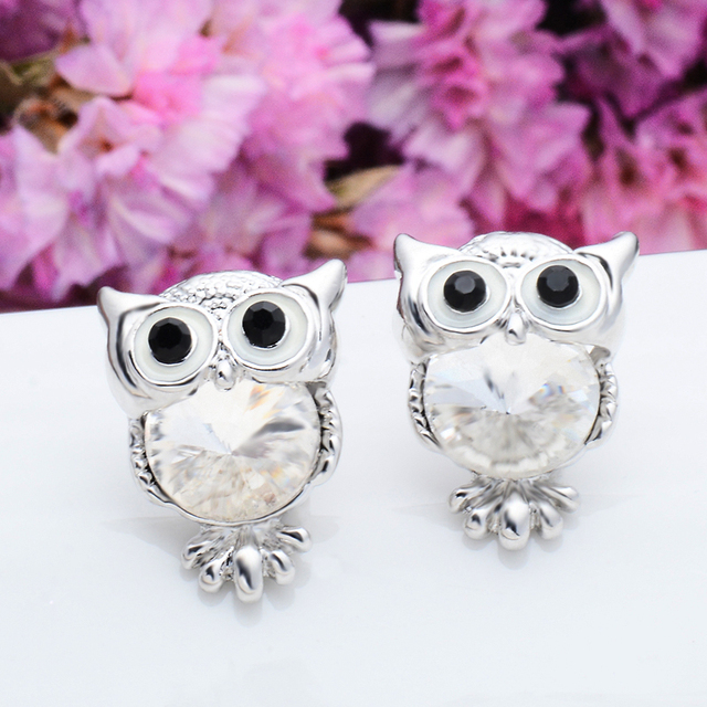 Owl Stud Gemstone Earrings For Women