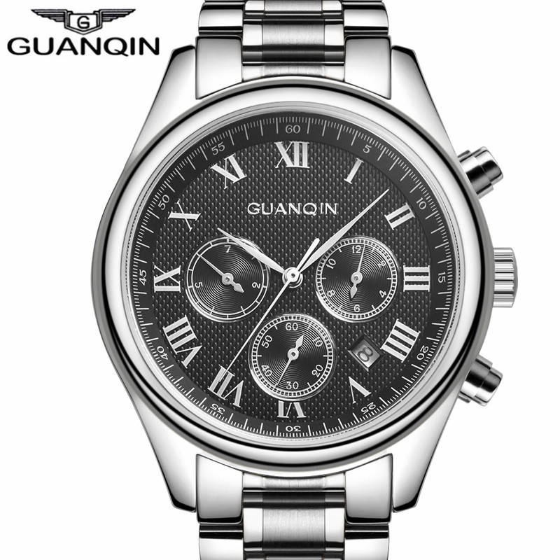 Top Brand Luxury Men Sport Automatic Date Mechanical Watches Business Casual Men's  Gift Silver Steel Wristwatch