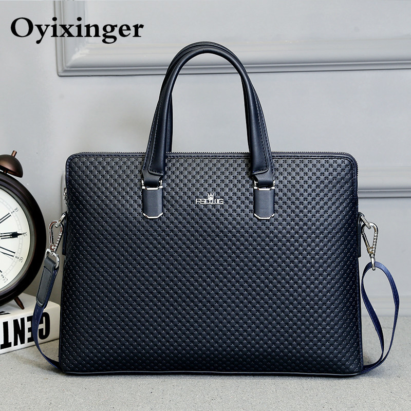 New Men Shoulder Leather Office Bags For Famous Brand Crossbody Messenger Computer Bag Man Lawyer Luxury