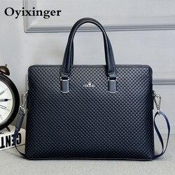 Männer Leder Aktentasche Büro Taschen Für Mann Berühmte Marke Crossbody Messenger Computer Tasche Männlichen Anwalt Luxus Handtaschen Bolso Hombre