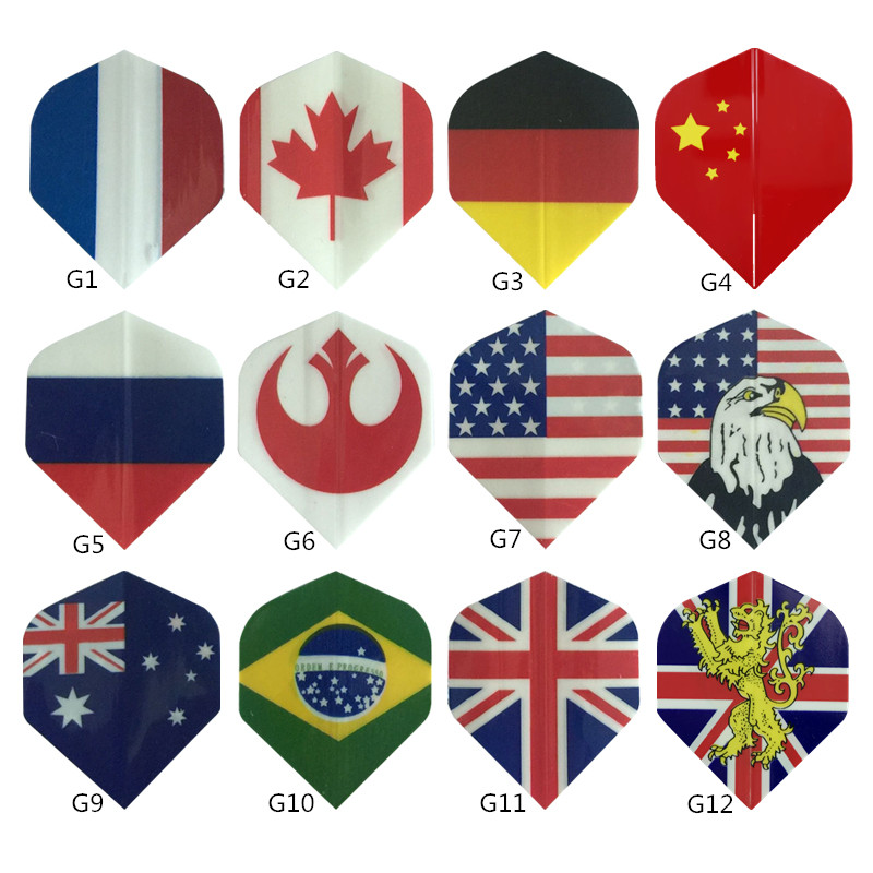 Cavalier 60/30PCS National Flag Pattern Darts Flights Mixed Style For Professional Soft And Steel Darts Dart Accessories