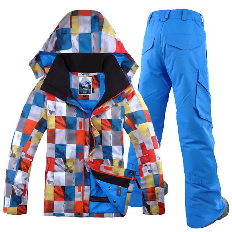 Бесплатная доставка GSOU SNOW Brand лыжный костюм Для мужчин лыжная куртка брюки зима Mountain Лыжный Спорт костюм Водонепроницаемый сноуборд устана... - 5