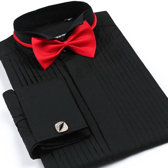 Los hombres Camisa Esmoquin Pajarita Roja Banquete Traje S-4XL Blanco Vestido de Manga larga Camisa Masculina Camisa Del Partido Del Novio Vestidos de Boda Noiva