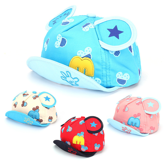 36aea60e8b1 Star Print Baby Hats Mouse Cotton Boys Girls Caps Summer Sun Baby Cap For Boys  Breathable M Baby Caps With Ear Baby Boy Clothing