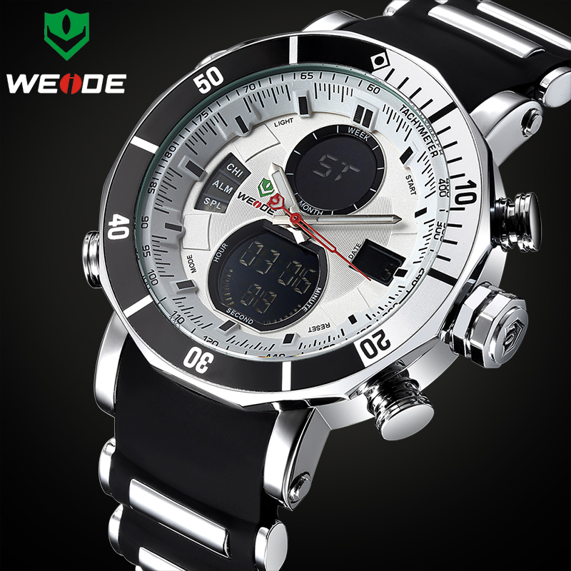 TOP Brand WEIDE Luxury Men Sports Watches Men's Digital Analog Clock Man Army Military Waterproof Wrist watch Relogio Masculino new brand weide men sports watches mens military leather analog digital watch black relogio masculino led army wristwatch clock