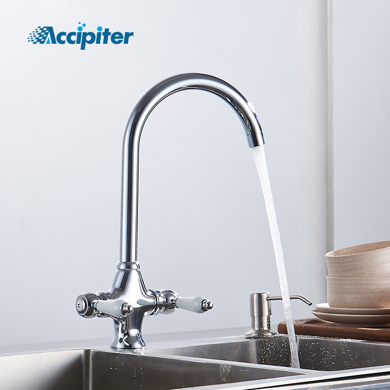 New Style 360 rotation Double handle with ceramics chrome kitchen faucet kitchen sink mixer tap Crane torneira cozinha water tapNew Style 360 rotation Double handle with ceramics chrome kitchen faucet kitchen sink mixer tap Crane torneira cozinha water tap
