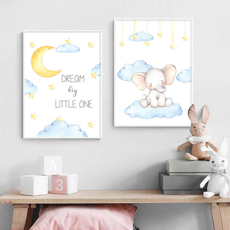 Watercolor Elephant Canvas Painting Baby Nursery Wall Art Poster Print Nordic Kids Decoration Picture Boy Children Bedroom Decor