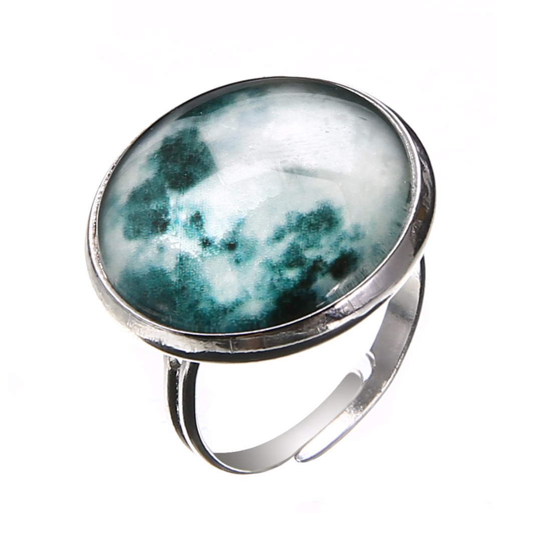 Unisex Round Glass Luminous Full Moon Glow In The Dark Finger Ring Open Adjustable Rings Fashion Jewelry Gifts For Men Women