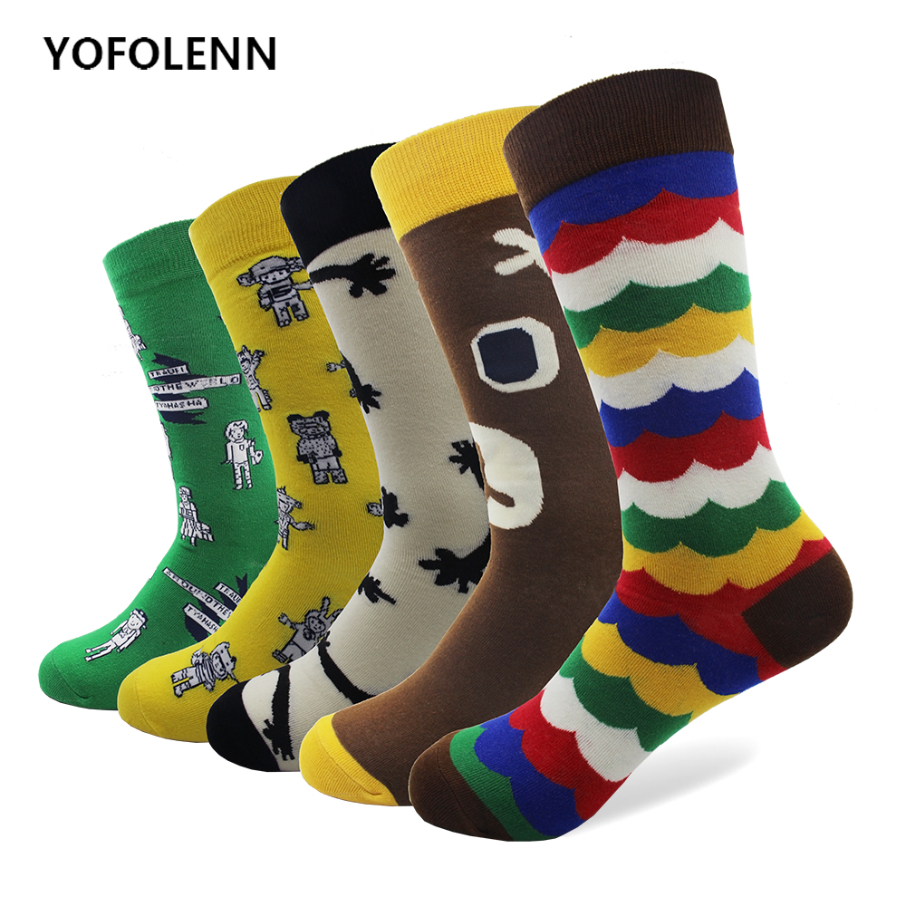 5 Pairs/lot Combed Cotton Womens Socks with Cute Animal Bear Cartoon Robot Rainbow Pattern Long Happy Funny Comfortable Socks