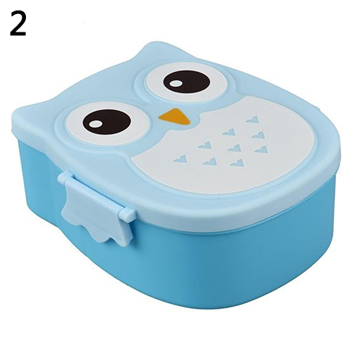 Cute Owl Shape Plastic Food Storage Container Portable Bento Box in