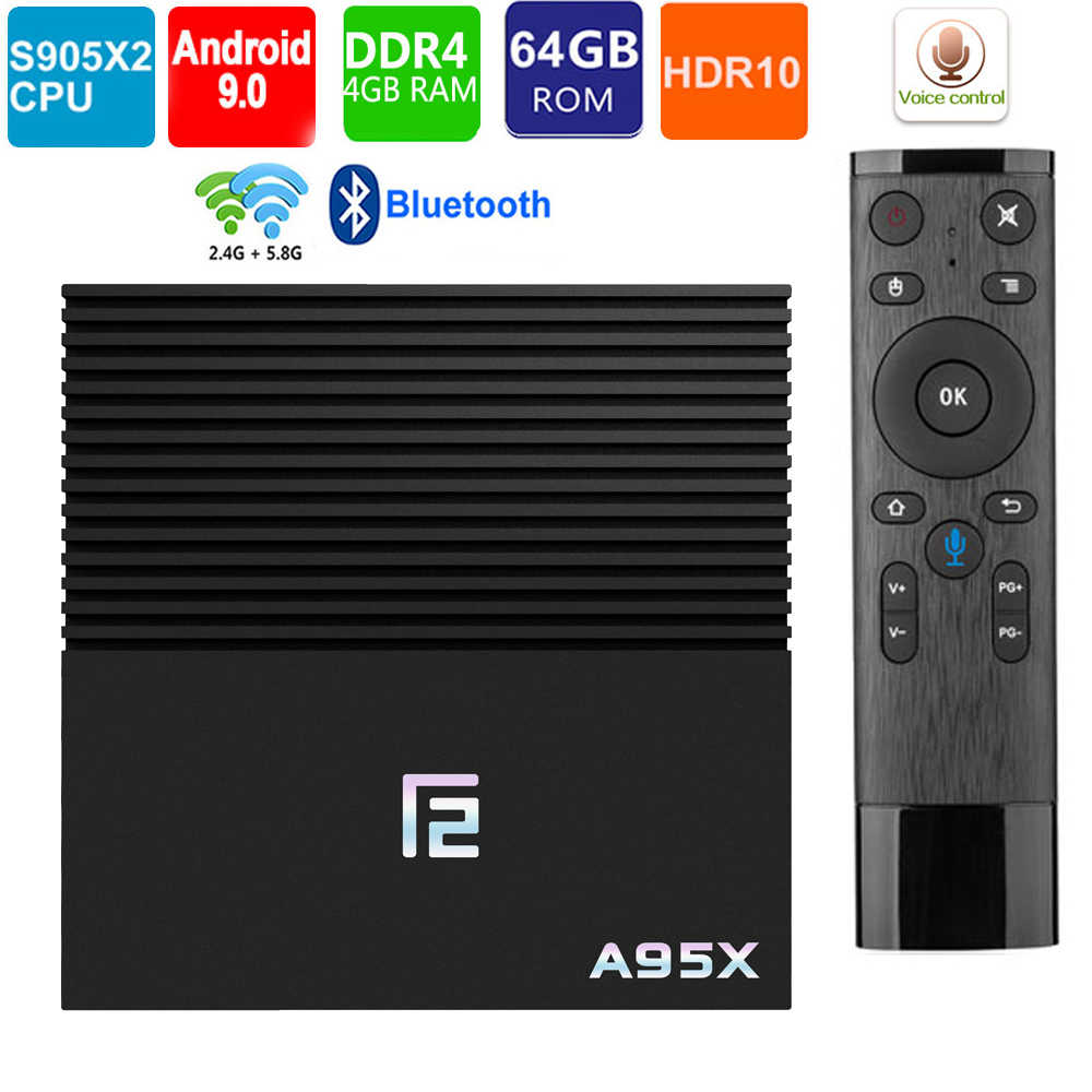 Tvbox Android 9.0 Amlogic S905x2 A95X F2 smart tv Box 4 GB/2 GB 64GB 4K HD H.265 BT4.2 WIFI 2.4/5G Google Play Netflix dekoder