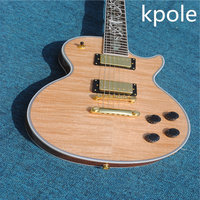 Factory custom original wood Kpole electric guitar LP tiger stripes, a flower color bei fingerboard, mahogany wood, real picture