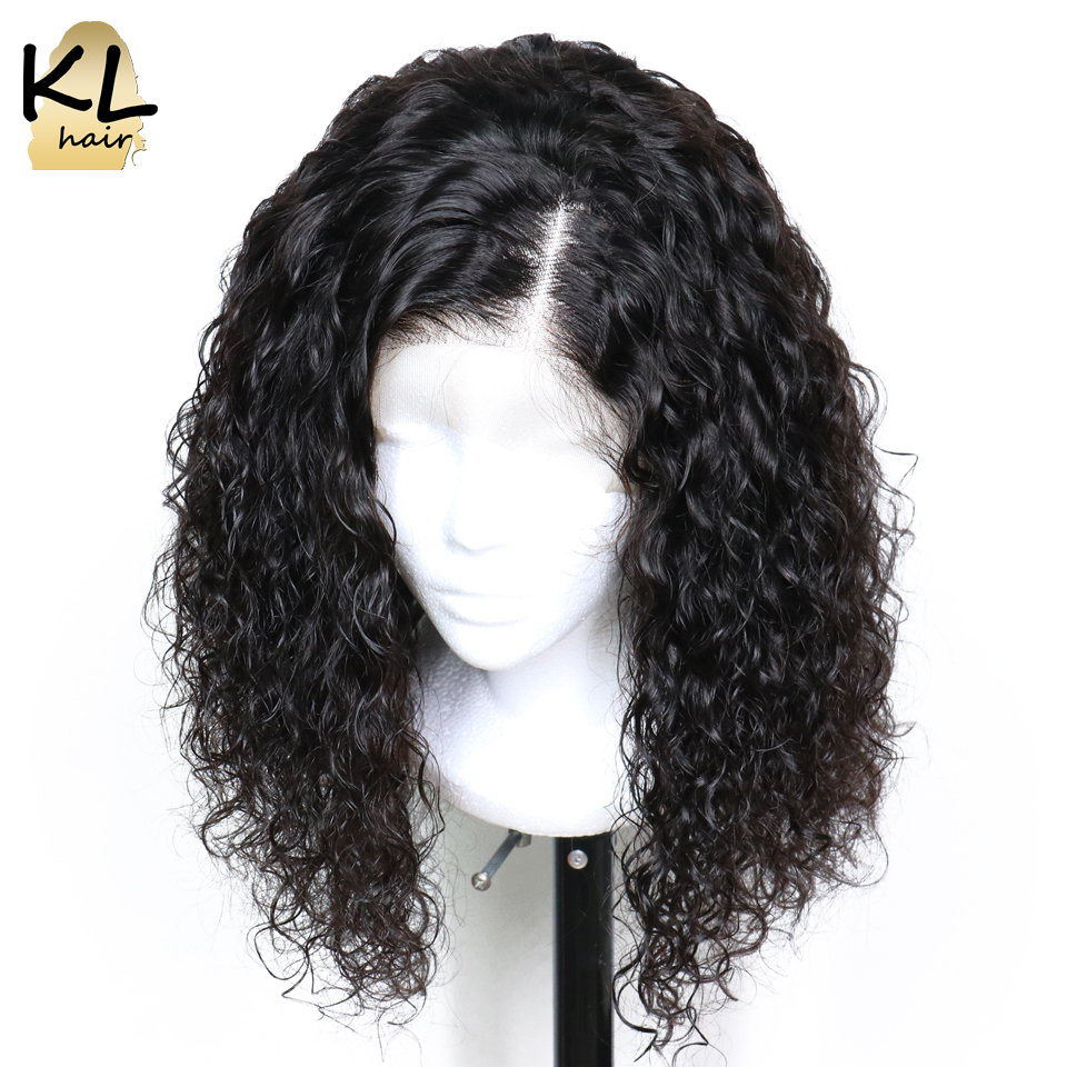 KL Curly Bob Wig Lace Front Human Hair Wigs With Baby Hair Pre Plucked Natural Black