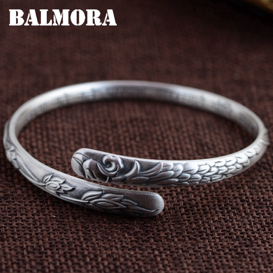 BALMORA 999 Pure Silver Four Leaf Clover Flower Open Bangles for Women Mother Gift about 17cm Bracelet Jewelry Pulsera SZ0277 balmora 999 pure silver buddha