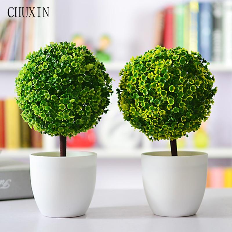 Artificial Trees Home Decor: Artificial Plants Ball Bonsai Fake Tree Decorative Green