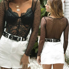 Summer Women Fashion Mesh Lace Bodysuit Transparent Sexy Long Sleeve Catsuit Jumpsuit Mesh Sheer Lace Bodysuits Tops Black/White(China)
