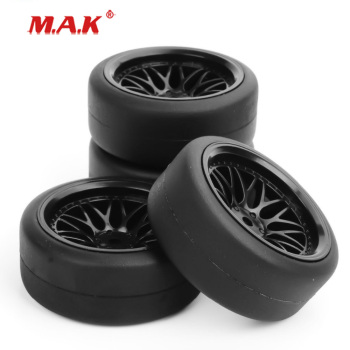 1/10 Scale Flat Drift Tires and Wheel Rim with 6mm Offset and 12mm Drive Hex fit HPI HSP RC On-Road Racing Car Accessories image