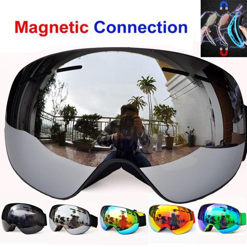 Magnétique d'hiver ski lunettes UV400 anti-brouillard masque de ski ski lunettes pour hommes femmes neige snowboard lunettes GOG-4100