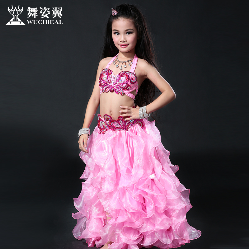 2016 Sale Cotton Wuchieal Brand High Grade Bellydance Costumes 2017 New Kid Girls Belly Dance Performance Top+skirt Suits Rt062