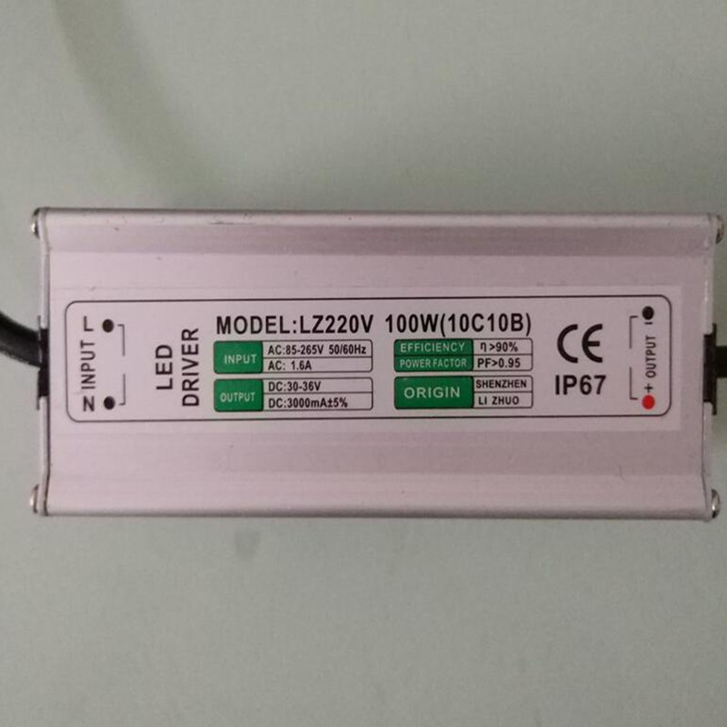 100W IP67 Waterproof Integrated LED Driver Power Supply Constant Current AC85-265V 3000mA for 100W LED Bulb
