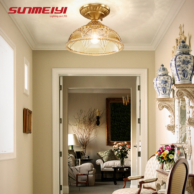 Nordic Luxury Led Ceiling Lights Foyer Bedroom With Gl Shade Plafon Vintage Lamp Modern
