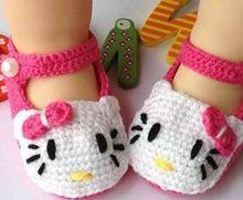Прекрасный Девочка Малышей Новорожденных Дамаск Ручной hello kitty Мягкие Детская Кровать В Обуви Без Скольжения Обувь