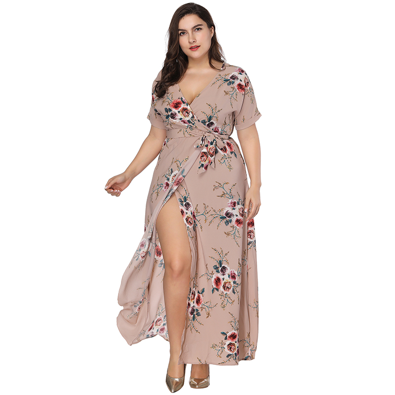 2018 Casual Women Summer Dress Sexy Splt V Neck Short Sleeve Flower Dress Long Maxi Beach Dress Plus Size Dresses for Women 7XL