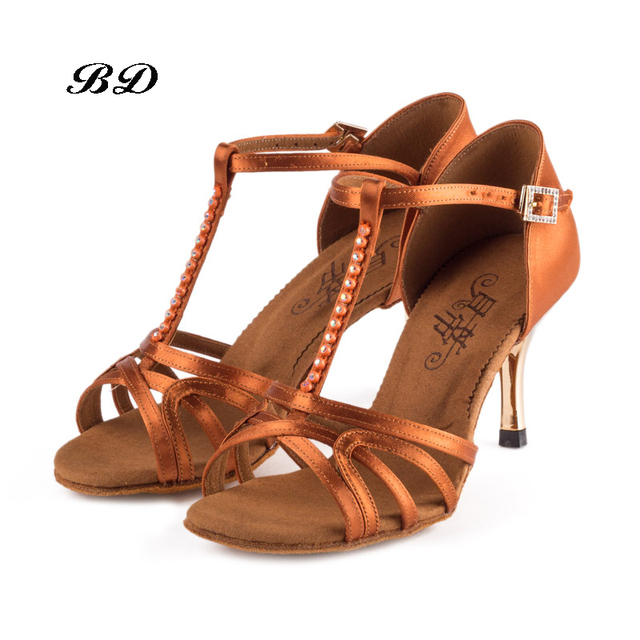 Sneakers Dance Shoes Ballroom Women Latin shoes High Quality Dancing Shoe Gold Heel 8.5 cm Real cowhide Anti-slip Sole Adult Hot