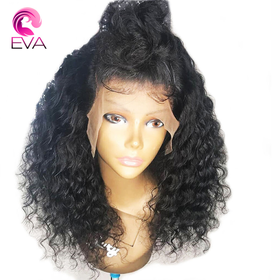 130% Dichte 13*6 Spitze Front Menschliches Haar Perücken Lockige Brasilianische Remy Haar Mit Baby Haar Vor Gezupft Natürliche Hariline 8-26 ''eva