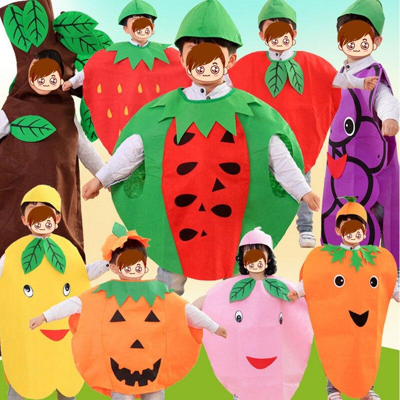 Fashion Children Boys Girls Fruit Costumes Apple Banana Pumpkin Boy Girls Cosplay Clothes Children's Day Performance Props