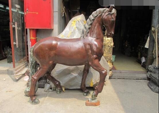 Огромный Китайский классический красный Бронзовый Вырезка лошадь благородство украшения статуя лошади