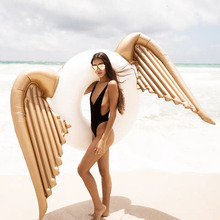 170cm Giant Inflatable Angel Wings Swim Ring Pool Toy Hawaii Summer Beach Party Decoration Float Mattress Adult kids Gift angel shiny wing sequin inflatable float 180cm swim ring hawaii summer beach party decoration pool toy float mattress gift adult