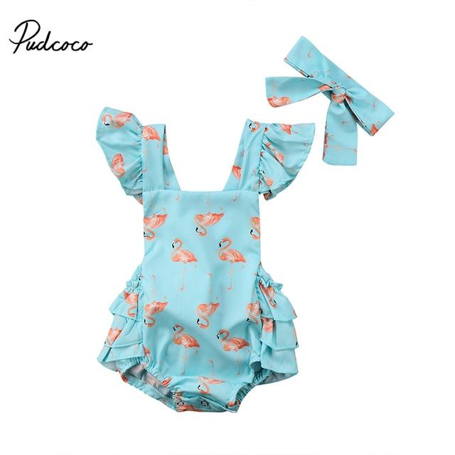 De dibujos animados lindo bebé recién nacido mameluco de verano volantes sin mangas impresión Flamingo Tutu falda mono diadema 2 piezas Braga