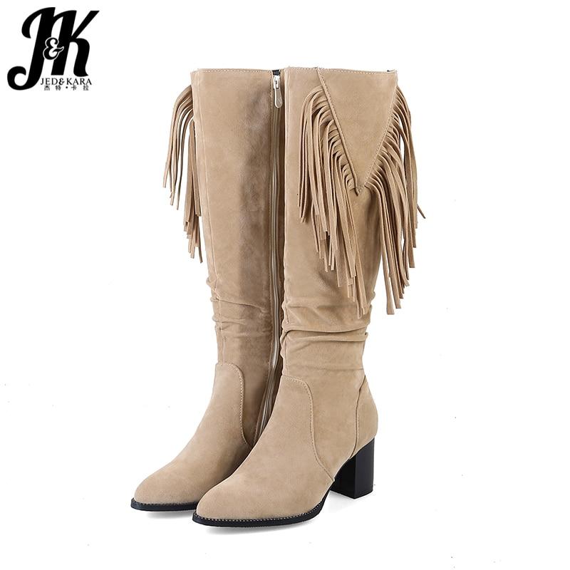 JK плюс Размеры 48 толстые женские сапоги на высоком каблуке Острый носок с кисточками обувь с заклепками из флока женские ботинки Сапоги до к