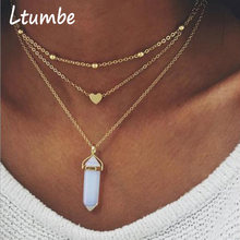 Ltumbe Hot Selling Love Heart Necklaces for Women Party Jewelry Boho Simulated Pearl Ball Tassel Geometric Necklaces Pendants(China)