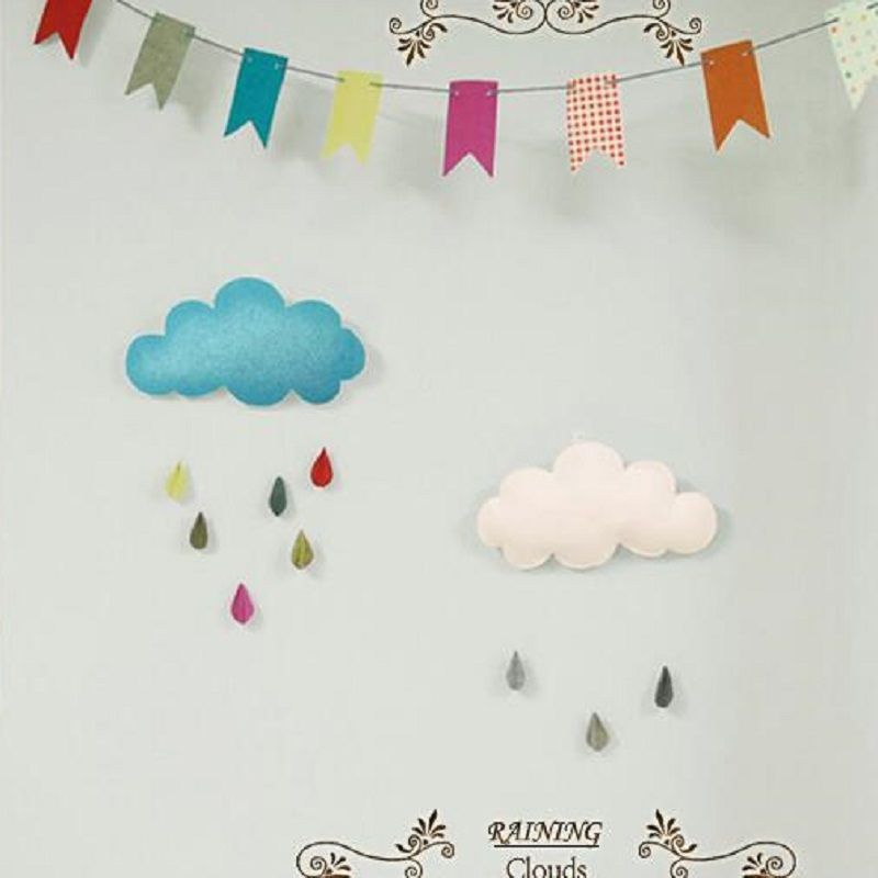 Baby Room Hanging Decoration Handmade Raining Clouds Water Drop Children Bed Room Hanging Teepees Tent Toy For Children