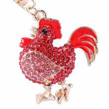 PRO ACME Crystal Cock Rooster Chicken Key chain Rhinestone Keychain Animal Metal Keyring For Women Bag Pendant Jewelry PWK0333
