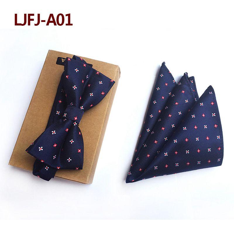 Мужской модный галстук набор полиэфирных шелковых галстуков наборы из двух частей жаккардовые галстуки для мужчин галстук носовой платок галстук-бабочка - Цвет: LJFJ-A01