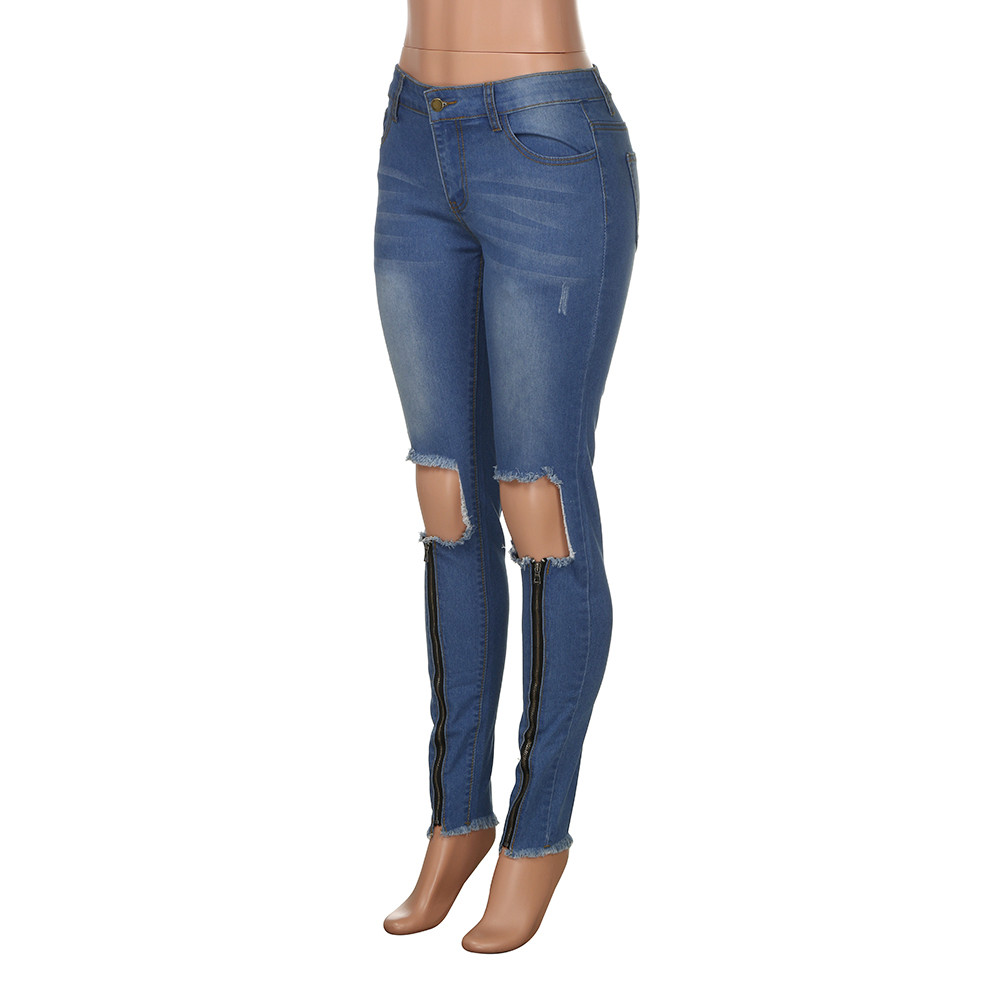 Destroyed jeans for women Ripped Jeans Trousers Stretchy Slim Leggings Denim Pants vaqueros mujer#G9