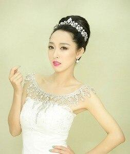 Image 2 - Nueva de lujo de la novia de la boda grande de cristal de encaje de la cadena nupcial princesa plataforma Prom V hombro joyería de cristales para collar