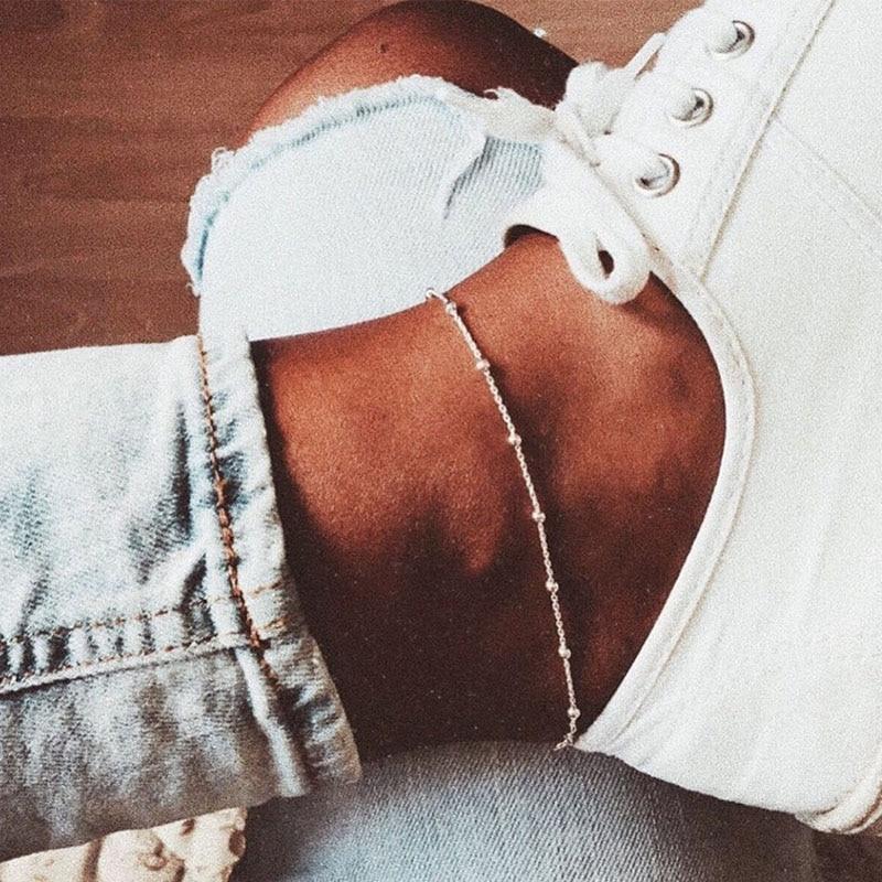 IPARAM Summer Simple Silver Bead Chain Anklet Bohemian Vintage Footwear Leg Bracelets 2019 Female Foot Jewelry