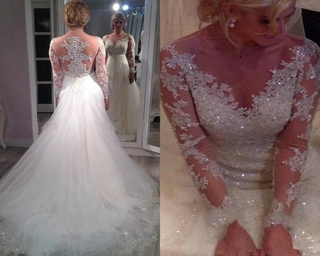 New Arrival Plus Size Wedding Dress 2016 Y Lace Long Sleeve Shiny Beaded Sequins Sheer Lliques
