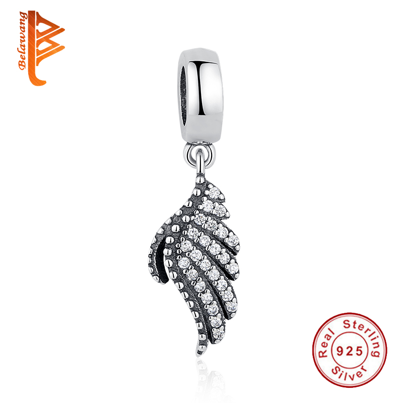 100% 925 plata esterlina clara CZ Feather Angel Wing se adapta a Pandora 925 Original Bead Charm Bracelets DIY Jewelry Making