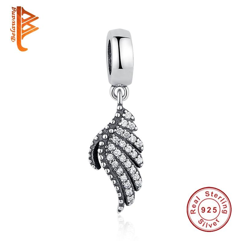 100% 925 Sterling Silver Clear CZ Fjäder Angel Wing Passar Pandora 925 Original Bead Charm Armband DIY Smycken Making