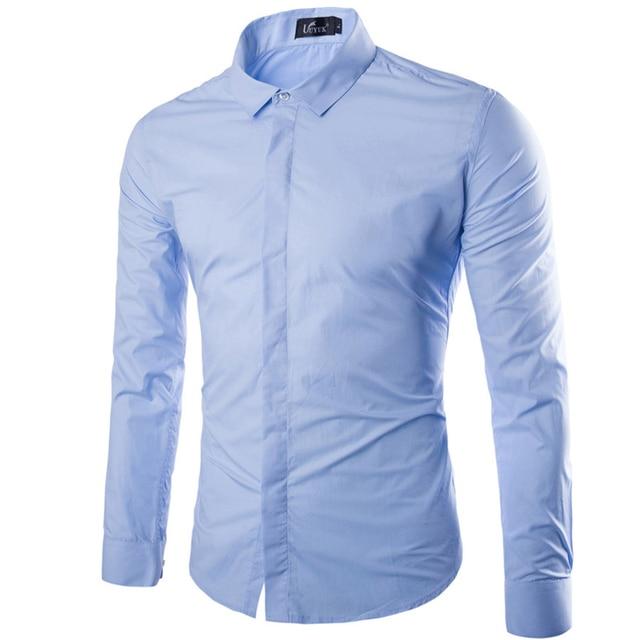 510699d8636 Brand Sky Blue Men Shirt Long Sleeve Chemise Homme 2016 Autumn Fashion  Solid Color Slim Fit