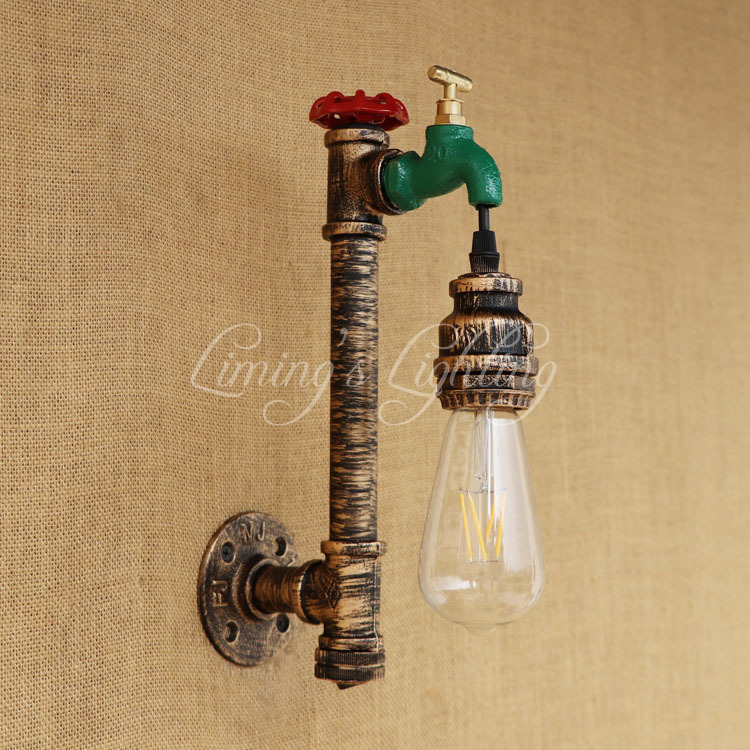 Loft Style Retro Edison Water Tap Pipe Lamp Industrial Vintage Wall Light Fixtures For Edison Wall Sconce Indoor Lighting